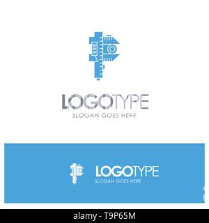 Measuring, Accuracy, Measure, Small, Tiny Blue Solid Logo with place for tagline - Stock Photo