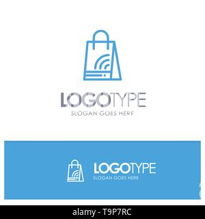 Bag, Handbag, Wifi, Shopping Blue outLine Logo with place for tagline - Stock Photo