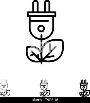 Biomass, Energy, Plug, Power Bold and thin black line icon set - Stock Photo