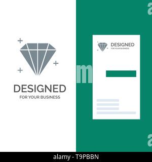 Diamond, Jewel, User Grey Logo Design and Business Card Template - Stock Photo