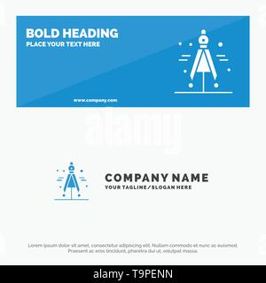 Compass, Divider, Science SOlid Icon Website Banner and Business Logo Template - Stock Photo