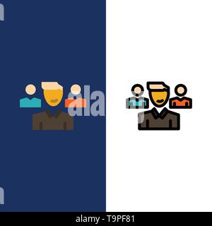 Team, User, Manager, Squad  Icons. Flat and Line Filled Icon Set Vector Blue Background - Stock Photo