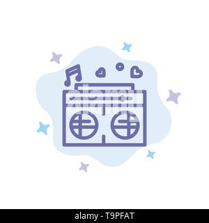 Radio, Love, Heart, Wedding Blue Icon on Abstract Cloud Background - Stock Photo