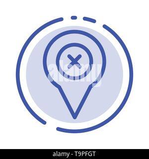 Add, Pin, Location, Map Blue Dotted Line Line Icon - Stock Photo