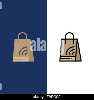 Bag, Handbag, Wifi, Shopping  Icons. Flat and Line Filled Icon Set Vector Blue Background - Stock Photo