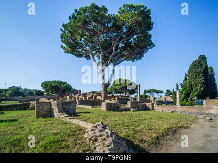 ruins at the Terme del Foro, one of the largest baths at the archeological site of the Roman settlement of Ostia Antica, the ancient harbour of the ci - Stock Photo