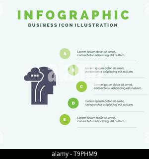 Activity, Brain, Mind, Head Solid Icon Infographics 5 Steps Presentation Background - Stock Photo