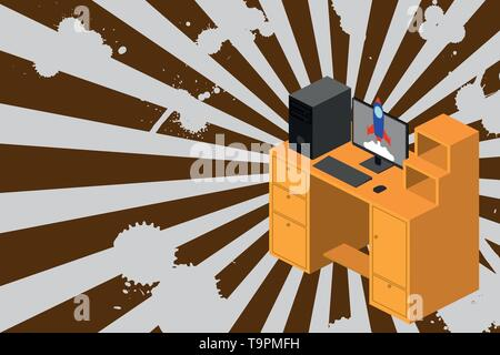 Working desktop station drawers personal computer launching rocket clouds. Design business concept Empty copy space modern abstract background - Stock Photo