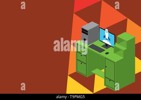 Working desktop station drawers personal computer launching rocket clouds. Design business concept Empty template copy space text for Ad website isola - Stock Photo
