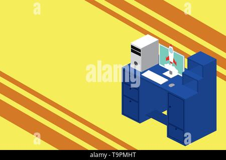 Working desktop station drawers personal computer launching rocket clouds. Design business Empty copy space text for Ad website promotion isolated Ban - Stock Photo
