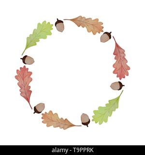 hand drawn watercolor vector frame of oak leaves and acorns for your design - Stock Photo