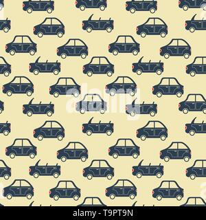 seamless pattern of cartoon city car silhouettes vector background - Stock Photo