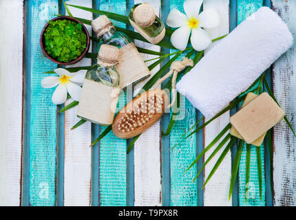 Spa and wellness massage setting. Still life with flower. Copy space. Top view. - Stock Photo