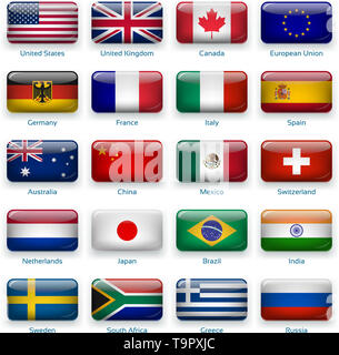 Vector icons of flags. 20 Popular countries of the world in glossy mode - Stock Photo