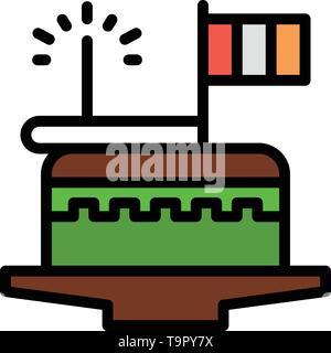 Cake, Celebrate, Day, Festival, Patrick Business Logo Template. Flat Color - Stock Photo
