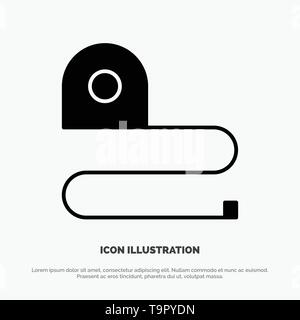 Construction, Measuring, Scale, Tape solid Glyph Icon vector - Stock Photo