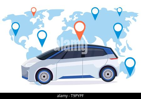 automobile with location pin online ordering taxi car sharing concept mobile transportation carsharing service world map background flat horizontal - Stock Photo