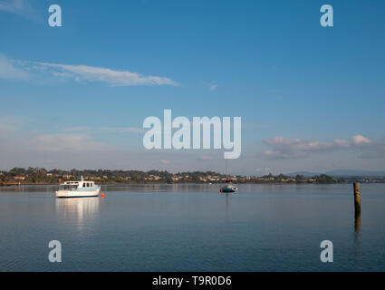 Boats at anchor at George Town on the Tamar River near Launceston in northern Tasmania, Australia with copy space. - Stock Photo