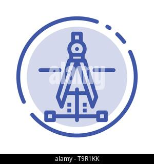 Compass, Drawing, Education, Engineering Blue Dotted Line Line Icon - Stock Photo