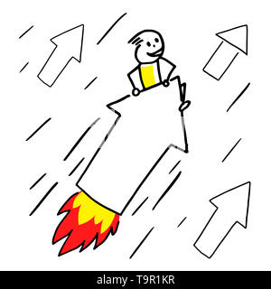 Stick figure character flies on an arrow rocket up high. Reaching goal concept. - Stock Photo