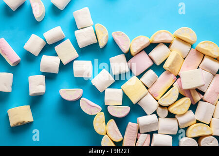 Tasty marshmallows on color background - Stock Photo