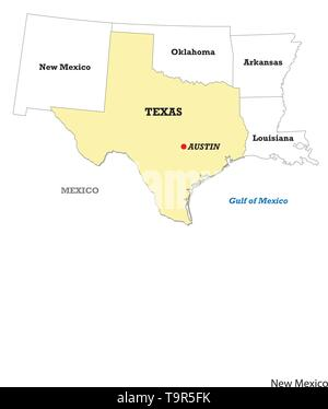 Texas state map with neighboring states - Stock Photo