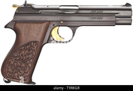 A SIG JP 210 commemorative pistol '125 Jahre SIG', in its casket Cal. 9 mm Parabellum, no. JP 364 (of 500 weapons). Matching numbers. Bright bore. Proof-marked 1978. On planished surface gold-inlaid commemorative inscription '125 Jahre - SIG - 1853-1978'. Gilded operational parts. No swivel rings. Walnut grip panels with acanthus pattern. Magazine. In walnut casket with additional glass panel. Dimensions 30 x 20 x 10 cm, lined with bordeaux-red silk velour and commemorative badge. Key. Brand new collector's item. Erwerbsscheinpflichtig. historic,, Additional-Rights-Clearance-Info-Not-Available - Stock Photo