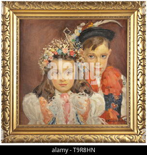 Nadezhda Dmitrievna Kompaniets-Kiyantshenko (1913 - 2003) - a portrait of two children in carnival costumes Oil on canvas, signed and dated 'N. Kompaniets 45' in Cyrillic on the lower left. In the original gilt wooden frame. Dimensions of painting 50 x 50 cm, dimensions of frame 64 x 65.5 cm. Comes with a book listing the works of the painter and her painter family and including a handwritten dedication by the painter's son. Publishing house Kiev 2008. Nadezhda Dmitrievna Kompaniets-Kiyantshenko (1913 - 2003) was a well-known Russian/Ukrainian pa, Additional-Rights-Clearance-Info-Not-Available - Stock Photo