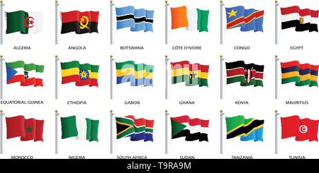 Waving flag icon, flags of Africa countries sorted alphabetically. Vector illustration. - Stock Photo