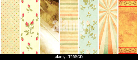 Set of vertical or horizontal banners with old paper texture and retro patterns in shabby chic style with strips, polka dots, rose flowers - Stock Photo