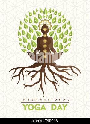 international yoga day greeting card for special event