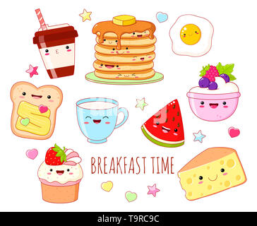 Breakfast time. Set of cute food icons in kawaii style with smiling face and pink cheeks for sweet design. EPS8 - Stock Photo