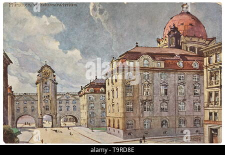 Adolf Hitler - a watercolour of the Bavarian Ministry of Transport Fine and detailed painting on textured watercolour paper, the architecture is well captured, with the cobbled Arnulfstraße near the central station in the foreground, the title 'München. K.B. Verkehrsministerium' on the lower left, signed 'A. Hitler' on the lower right. Dimensions of 20th century, Editorial-Use-Only - Stock Photo