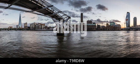 Panoramic view of the south side of the River Thames. - Stock Photo
