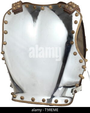 A British cuirass for enlisted men of the Household Cavalry, 20th century Breastplate and backplate made of nickel-plated iron with brass trim and continuous, sturdy semi-circular rivets. On the backplate, riveted scaled straps of brass with closures in relief design. Lined with white leather. No maker's mark or indication of size, signs of wear. Height 43 cm. historic, historical, Additional-Rights-Clearance-Info-Not-Available - Stock Photo