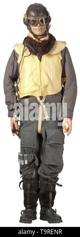 A uniform ensemble for a fighter- and bomber pilot in the Defense of the Reich 1943-45 Protective head cover maker 'DeTeWe' for fighter pilots, construction type 'L Kp W 101' of brown leather with winter liner, complete with larynx microphones, long cable and plug, aviator goggles. Flight jacket of blue linen ('Prym' buttons, 'Zipp' pull closure), the inside and collar with fur trim. Trousers as previous, with lateral pockets and heating ports, at the waist a tag labelled 'Gerät-Nr. 142-48 A 1, FL 31280-1, RBNr. 0/0915/5232, Grösse II' and year cypher '1944'. Fur-lined flye, Editorial-Use-Only - Stock Photo