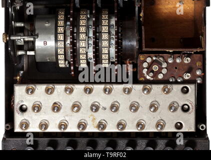 A German 'Enigma I' cipher machine, 1944 army issue, in the original carrying case Appliance number 'A 01891', manufactured by (bac) 'Ertel-Werk für Fei 20th century, Editorial-Use-Only - Stock Photo
