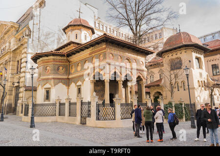 Bucharest, Romania - March 16, 2019: 'Saints Archangels Michael and Gabriel' Stavropoleos Monastery Church situated in Old Town part of Bucharest, Rom - Stock Photo
