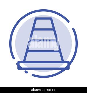 Cone, Construction, Tool Blue Dotted Line Line Icon - Stock Photo