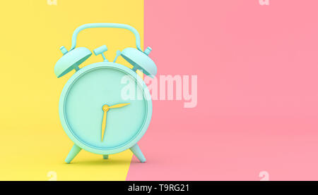 stylized alarm clock on a yellow and pink background, 3d render image. - Stock Photo