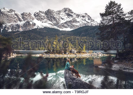 The view to the top of Germany - the Zugspitze - Stock Photo