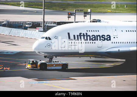 Frankfurt Airport, Germany, April 2019. The front of the huge Airbus A380 of Lufthansa. - Stock Photo