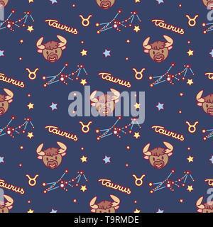 vector seamless pattern cute Zodiac concept art - Stock Photo