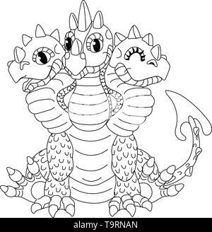 vector line cartoon animal clip art 3 headed red dragon - Stock Photo