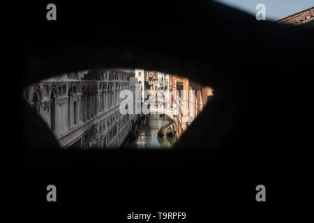 Venice, Italy - April 18 2019 view of Venice from Bridge of Sighs during the day.  This was the last view of Venice of prisoniers before going to jail