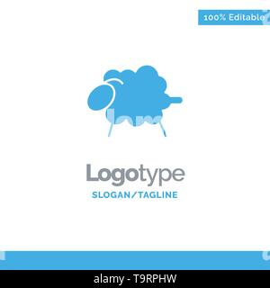 Lamb, Sheep, Wool, Easter Blue Solid Logo Template. Place for Tagline - Stock Photo