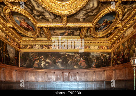 Venice, Italy - April 18 2019 The Chamber of the Council of tens at the Doge Palace. Painting detail.