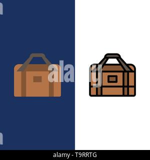 Bag, Equipment, Gym, Sports  Icons. Flat and Line Filled Icon Set Vector Blue Background - Stock Photo