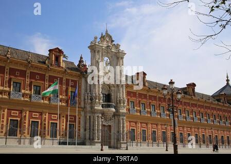 Spain. Andalusia. Seville. Palace of San Telmo.  Main facade with Churrigueresque entrance, 1754 by Figueroa family. - Stock Photo