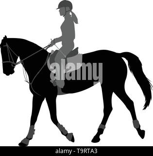 detailed silhouette of young female riding elegant horse - vector - Stock Photo
